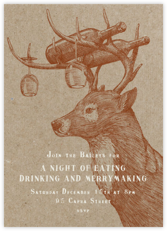 Buck and Wine - Chipboard - Paperless Post - Winter entertaining invitations