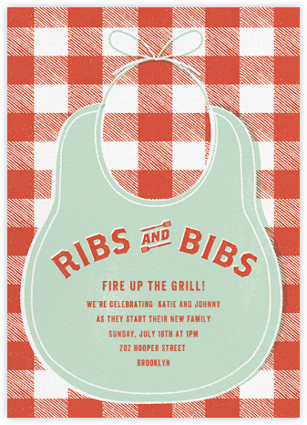 Ribs and Bibs - Mint - Paperless Post - Baby shower invitations