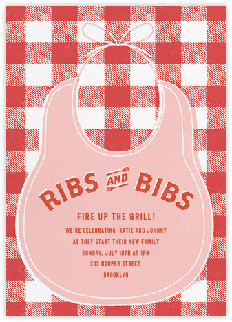 Ribs and Bibs - Pink - Paperless Post - Baby shower invitations