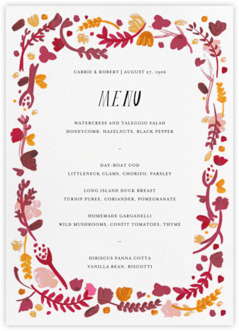Miss Lila (Menu) - Cranberry - Mr. Boddington's Studio - Wedding menus and programs - available in paper