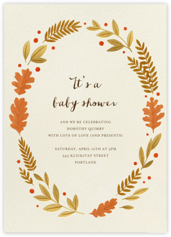 Autumnal Wreath - Paperless Post - Baby Shower Invitations