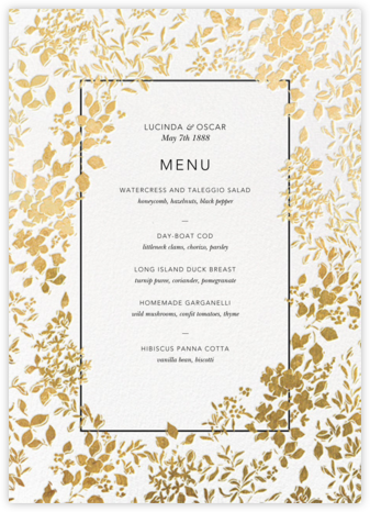 Richmond Park (Menu) - White/Gold - Oscar de la Renta - Wedding menus and programs - available in paper