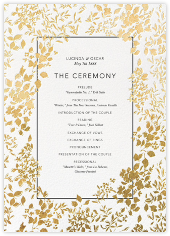 Richmond Park (Program) - White/Gold - Oscar de la Renta - Wedding menus and programs - available in paper