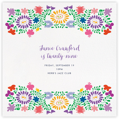 Oaxacan (Square) - White - Paperless Post - Adult Birthday Invitations