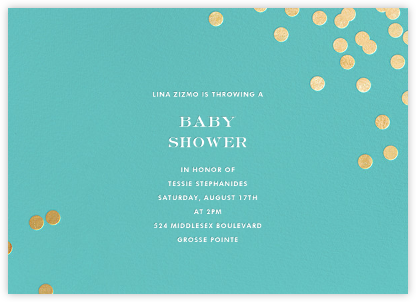 Confetti - Aqua/Gold - kate spade new york - Baby Shower Invitations