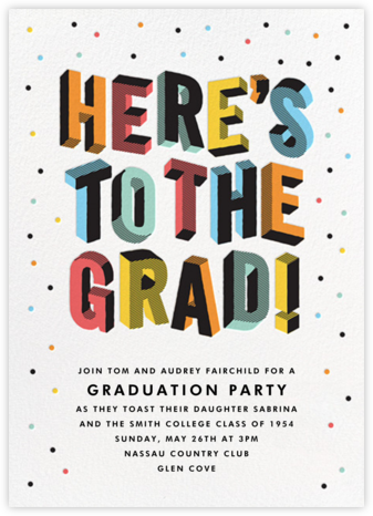 Degree in 3-D - Multi - Paperless Post - Graduation Party Invitations