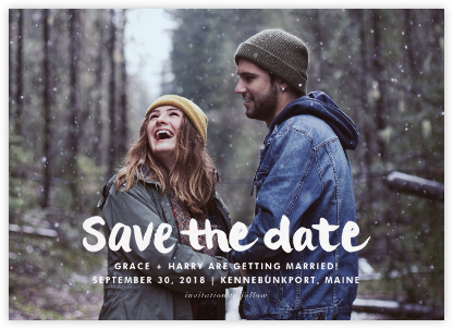 Stroke of Genius - White - Linda and Harriett - Save the date cards and templates