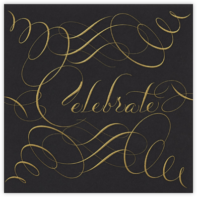 Celebrate Script - Black/Gold - Bernard Maisner - Holiday invitations