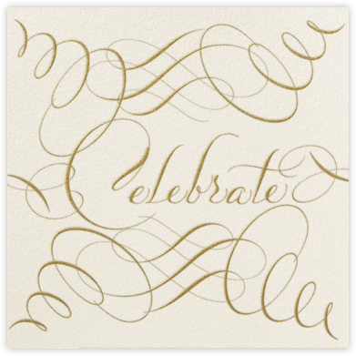 Celebrate Script - Cream/Gold - Bernard Maisner - Holiday party invitations