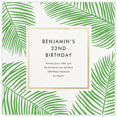 Palmier III - Gold - Paperless Post - Adult Birthday Invitations