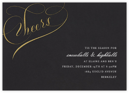 Cheers Script - Black/Gold - Bernard Maisner - Winter entertaining invitations