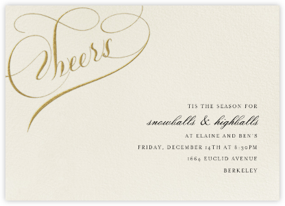 Cheers Script - Cream/Gold - Bernard Maisner - Holiday invitations
