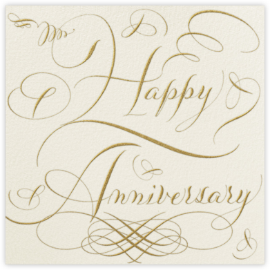 Happy Anniversary Script - Cream and Gold - Bernard Maisner - Greeting cards