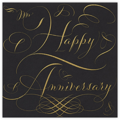 Happy Anniversary Script - Black and Gold - Bernard Maisner - Anniversary Cards