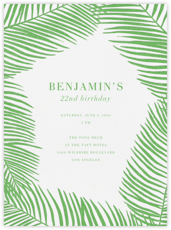 Palmier I - Spring Green - Paperless Post - Adult Birthday Invitations