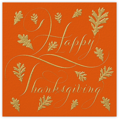 Happy Thanksgiving Script - Orange - Bernard Maisner - Holiday cards