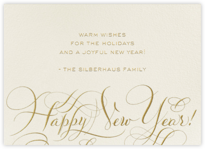 Happy New Year Script - Cream/Gold - Bernard Maisner - Bernard Maisner Invitations