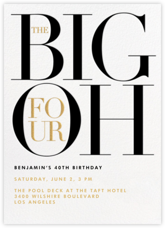 The Number Oh (Forty) - Paperless Post - Birthday invitations