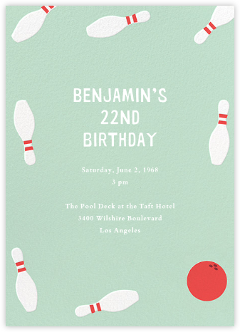 Bowling Pins - Mint - Paperless Post - Adult Birthday Invitations