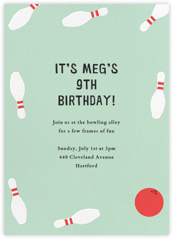 Bowling Pins - Mint - Paperless Post - Kids' Birthday Invitations