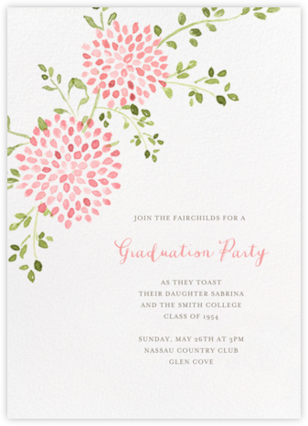 Dahlias (Tall) - Pink - Paperless Post - Graduation Party Invitations
