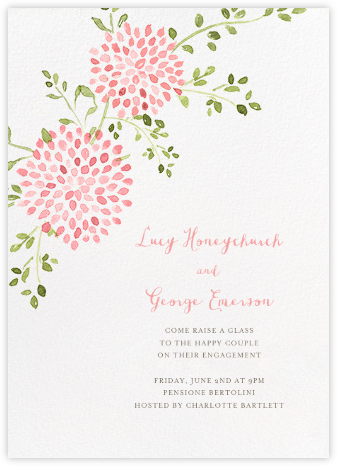 Dahlias (Tall) - Pink - Paperless Post - Engagement party invitations