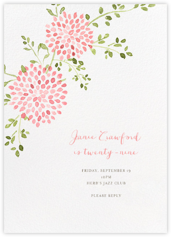 Dahlias (Tall) - Pink - Paperless Post - Adult Birthday Invitations