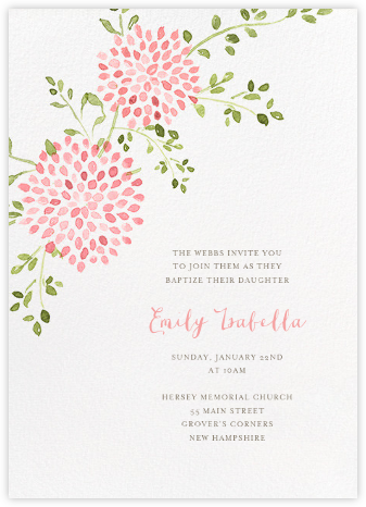 Dahlias (Tall) - Pink - Paperless Post - Christening Invitations