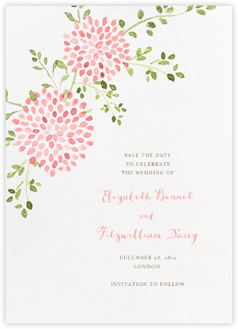 Dahlias (Tall Save the Date) - Pink - Paperless Post - Save the dates
