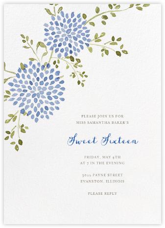 Dahlias (Tall) - Blue - Paperless Post - Sweet 16 invitations