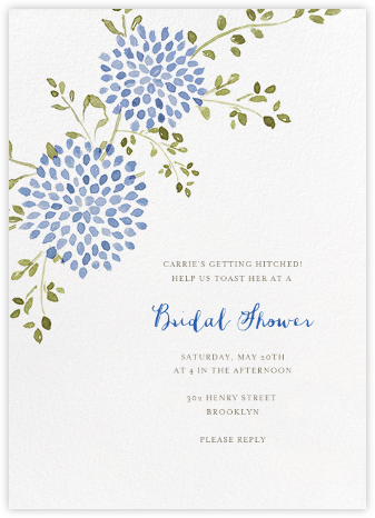 Dahlias (Tall) - Blue - Paperless Post - Bridal shower invitations