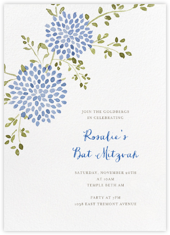 Dahlias (Tall) - Blue - Paperless Post - Bar and Bat Mitzvah Invitations