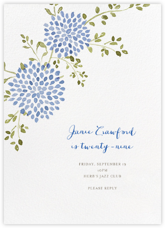 Dahlias (Tall) - Blue - Paperless Post - Adult Birthday Invitations