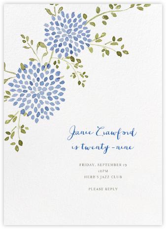 Dahlias (Tall) - Blue - Paperless Post - Adult Birthday Invitations