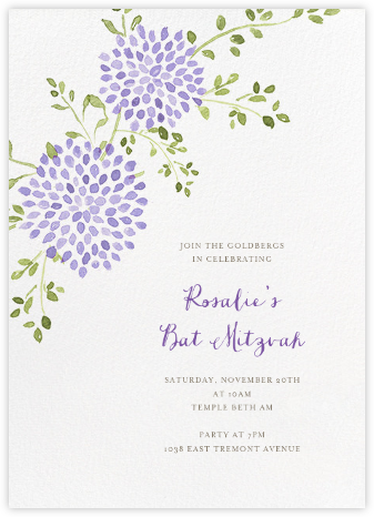 Dahlias (Tall) - Purple - Paperless Post - Bar and Bat Mitzvah Invitations