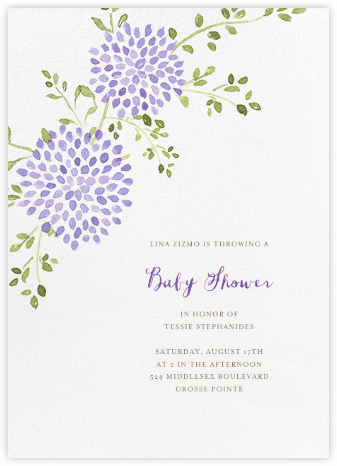 Dahlias (Tall) - Purple - Paperless Post - Baby Shower Invitations