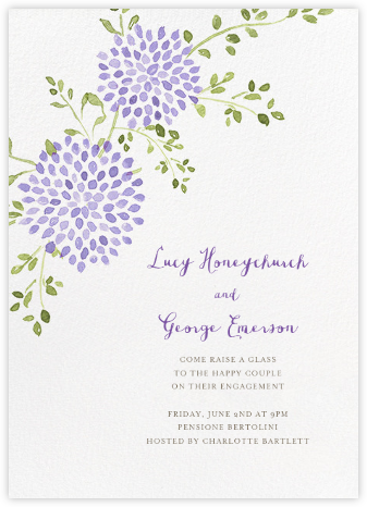 Dahlias (Tall) - Purple - Paperless Post - Engagement party invitations