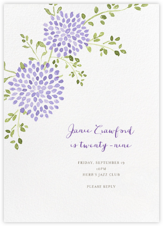 Dahlias (Tall) - Purple - Paperless Post - Adult Birthday Invitations