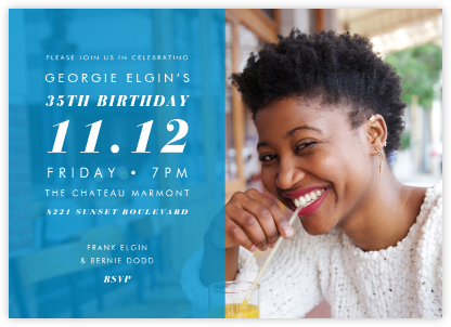Horizontal Split - Cyan - Paperless Post - Adult Birthday Invitations