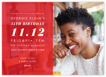 Horizontal Split - Red - Paperless Post - Adult Birthday Invitations