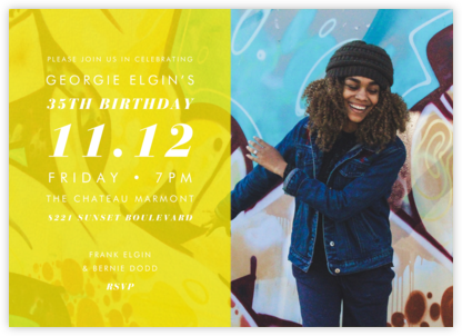 Horizontal Split - Yellow - Paperless Post - Adult Birthday Invitations