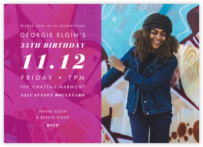 Horizontal Split - Magenta - Paperless Post - Adult Birthday Invitations