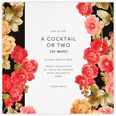 Garden Floral Ikat - Oscar de la Renta - Adult birthday invitations