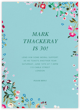 Embroidered Floral - Aquamarine - Oscar de la Renta - Adult Birthday Invitations