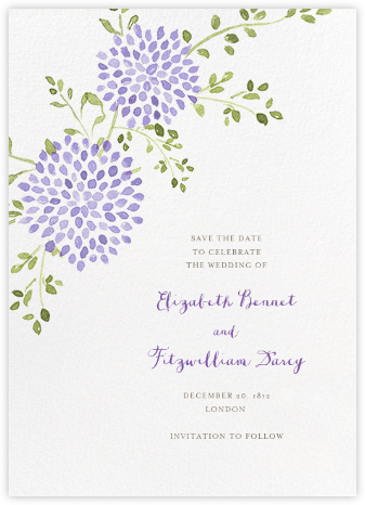 Dahlias (Tall Save the Date) - Purple - Paperless Post - Save the dates
