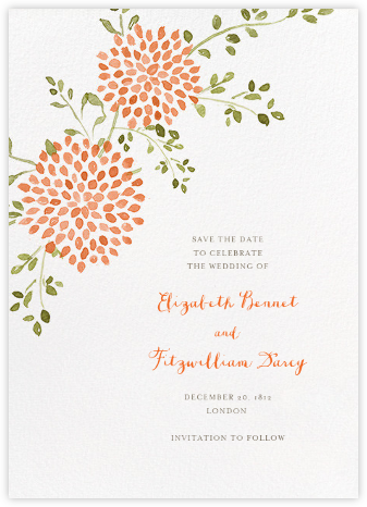 Dahlias (Tall Save the Date) - Pumpkin - Paperless Post - Save the dates