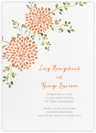 Dahlias (Tall) - Pumpkin - Paperless Post - Engagement party invitations