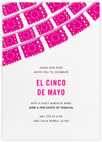 Fiesta Flags - Pink - Linda and Harriett - Cinco de Mayo Invites
