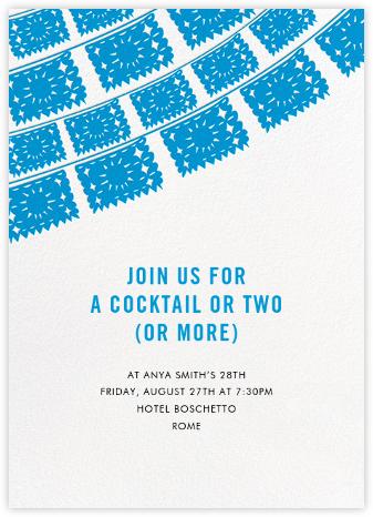 Fiesta Flags - Blue - Linda and Harriett - Adult Birthday Invitations