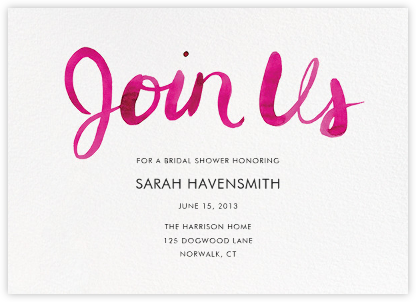 Join Us (Horizontal) - Pink - Linda and Harriett - Bridal shower invitations
